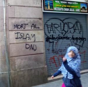 La puerta de una mezquita en Barcelona